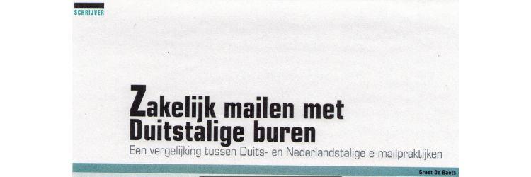 Article | Business e-mails with German-speaking people (Dutch article)